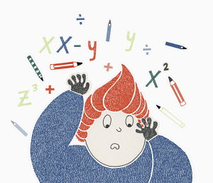 Boy struggling with mathematics