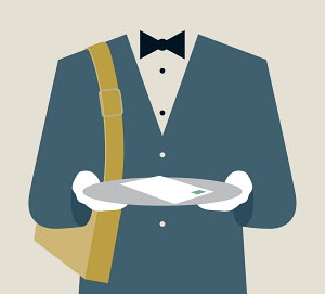 Postman in tuxedo delivering letter on silver tray