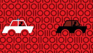 Policeman in pursuit of car on binary code background