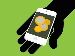 Hand holding smart phone with coins on screen