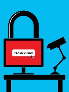 Padlock computer online shopping with security camera