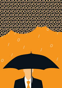 Businessman holding umbrella against binary code rain