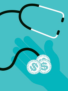 Stethoscope checking hand holding dollar coins