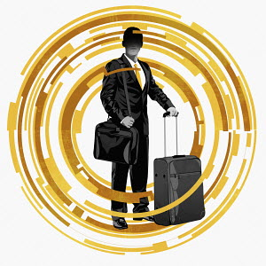 Business traveller in the middle of abstract technology pattern