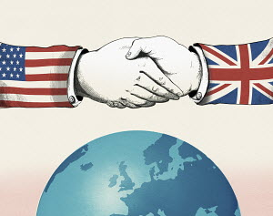 Politicians wearing United States and British flags shaking hands over globe