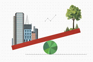 The environment versus urban development balancing on seesaw