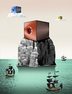 Internet banking on solid rock surrounded by pirate ships