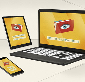 Eyes looking in files on phone and computer screens