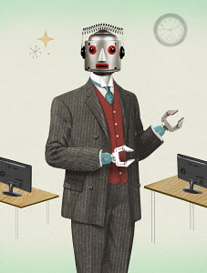 Robot businessman in old-fashioned suit