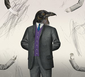 Arms outstretched towards intimidating businessman with raven head
