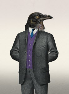 Intimidating businessman with raven head