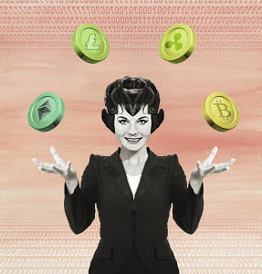 Businesswoman juggling different cryptocurrencies