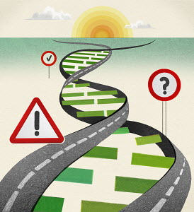 Road and road signs forming double helix