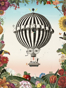 Businessman pointing the way in old-fashioned hot air balloon