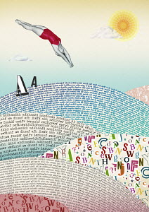 Woman diving into sea of letters
