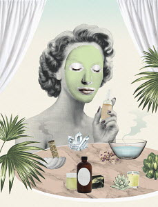 Woman using aromatherapy wearing face mask