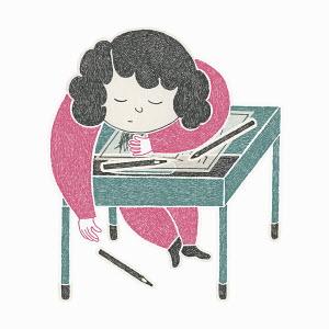 Schoolgirl asleep at desk