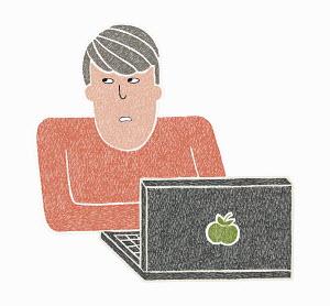 Man thinking while using laptop