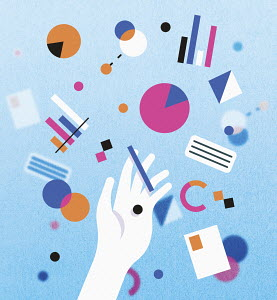 Hand amongst pie charts, bar graphs and geometric shapes