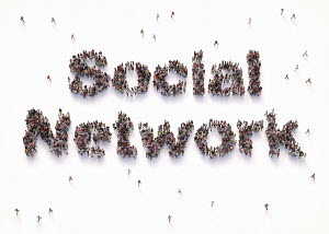 "Overhead view of people forming words """"social network"""""