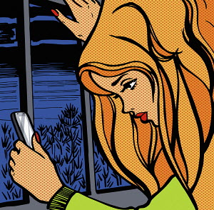 Young woman checking her smart phone by window at night