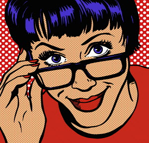 Close up of woman adjusting glasses