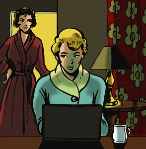 Mother discovering teenage daughter using laptop late at night