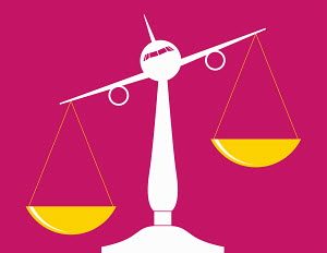 Aeroplane balancing scales of justice