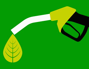Green leaf dripping from biofuel fuel pump