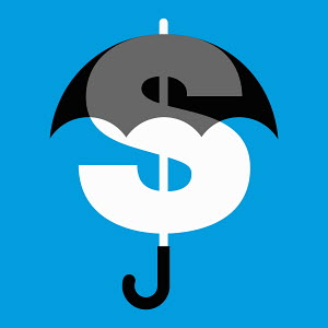 Dollar sign protected by umbrella