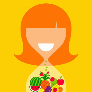 Woman shaped as hourglass containing healthy fruit and vegetables