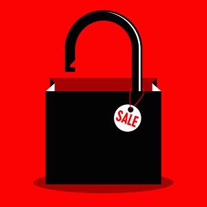 Unlocked padlock on sale shopping bag
