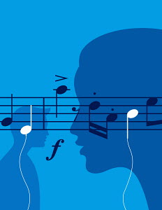 Musical notes as headphones as people listen to music