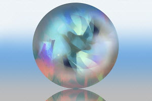 Pastel abstract pattern inside of translucent sphere