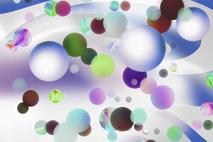 Lots of floating multi coloured spheres