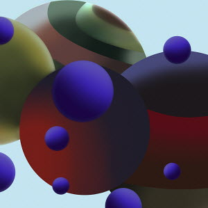 Dark spheres in close up abstract pattern
