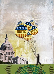 Man with bunch of voting badge balloons outside the U.S. Capitol Building