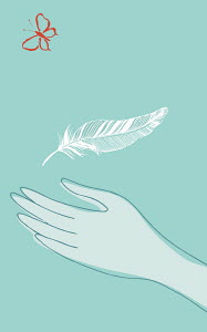 Hand catching feather