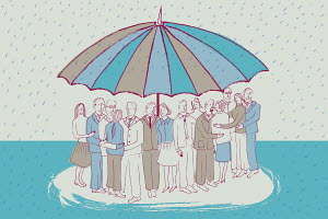 People huddling together under large umbrella