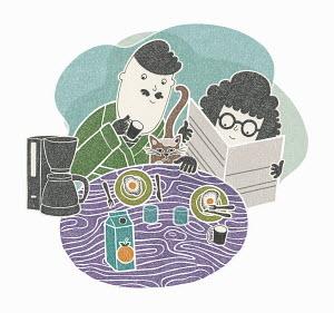 Couple enjoying cosy breakfast