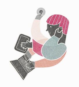 Stressed man multitasking using digital devices