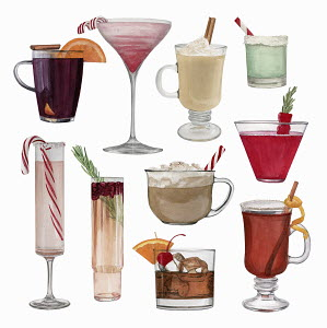Watercolour painting of lots of different drinks