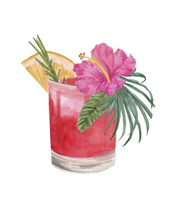 Cocktail with fresh fruit, herbs and flower