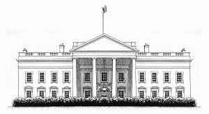 Black and white drawing of the White House