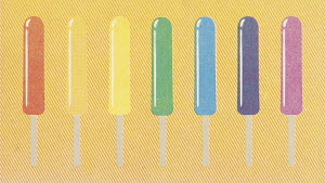 Row of different coloured ice lollies