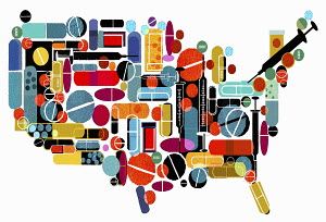 Pills and medicines forming map of the United States