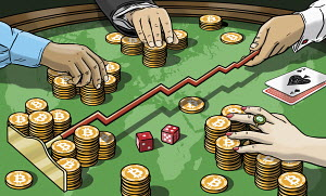 People gambling with bitcoins