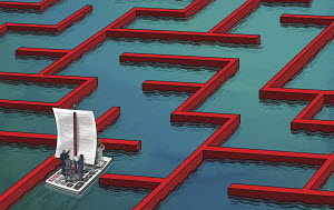 Business people navigating way through business finance maze