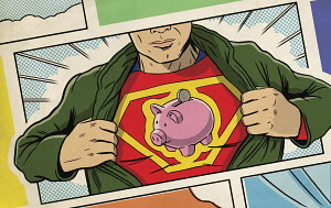 Superhero opening shirt and revealing piggy bank logo
