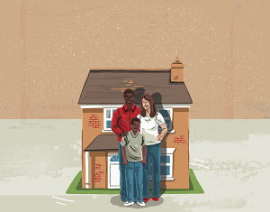 Happy family standing in front of new home